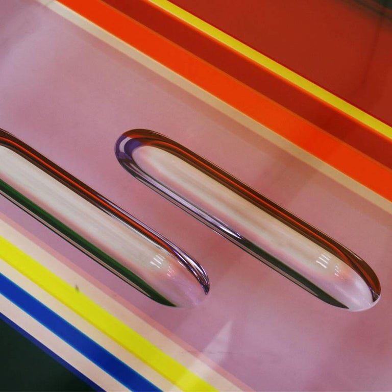 Contemporary Studio Superego Modern Multicolor Plexiglass and Brass Feet Italian Coffee Table For Sale