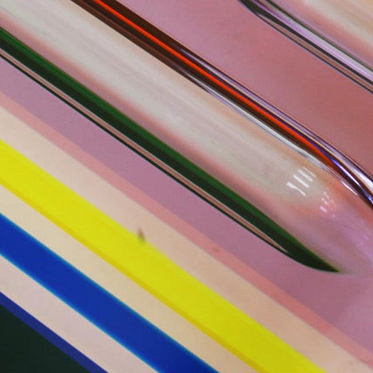 Studio Superego Modern Multicolor Plexiglass and Brass Feet Italian Coffee Table For Sale 1