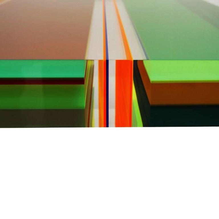 Studio Superego Modern Multicolor Plexiglass and Brass Feet Italian Coffee Table For Sale 2