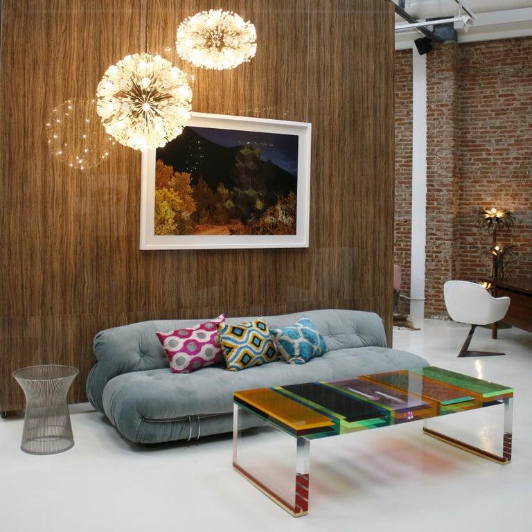Studio Superego Modern Multicolor Plexiglass and Brass Feet Italian Coffee Table For Sale 3