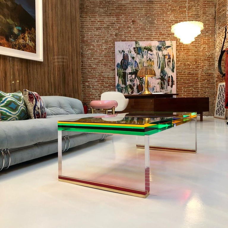 Studio Superego Modern Multicolor Plexiglass and Brass Feet Italian Coffee Table For Sale 4