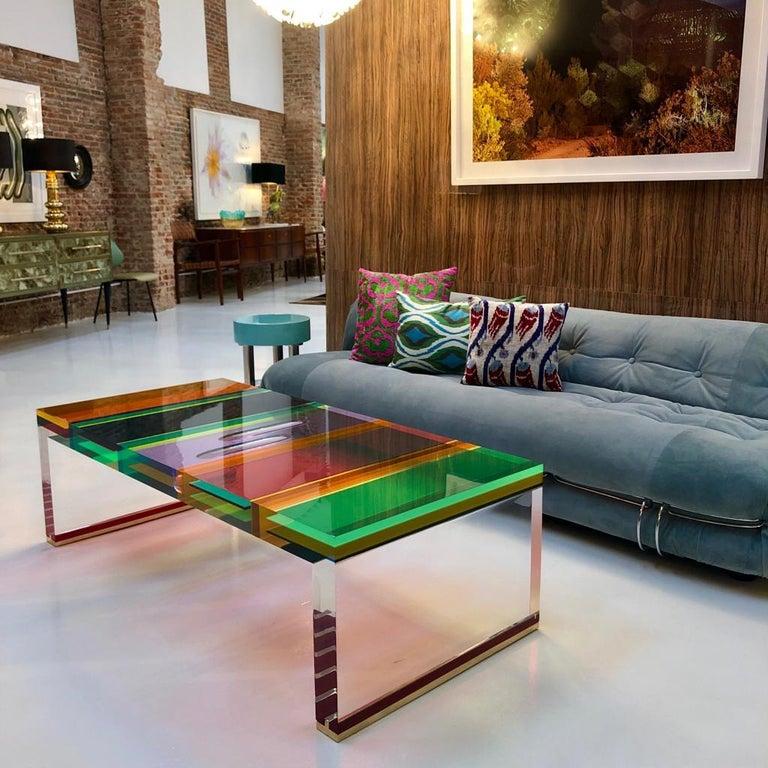 Studio Superego Modern Multicolor Plexiglass and Brass Feet Italian Coffee Table For Sale 5