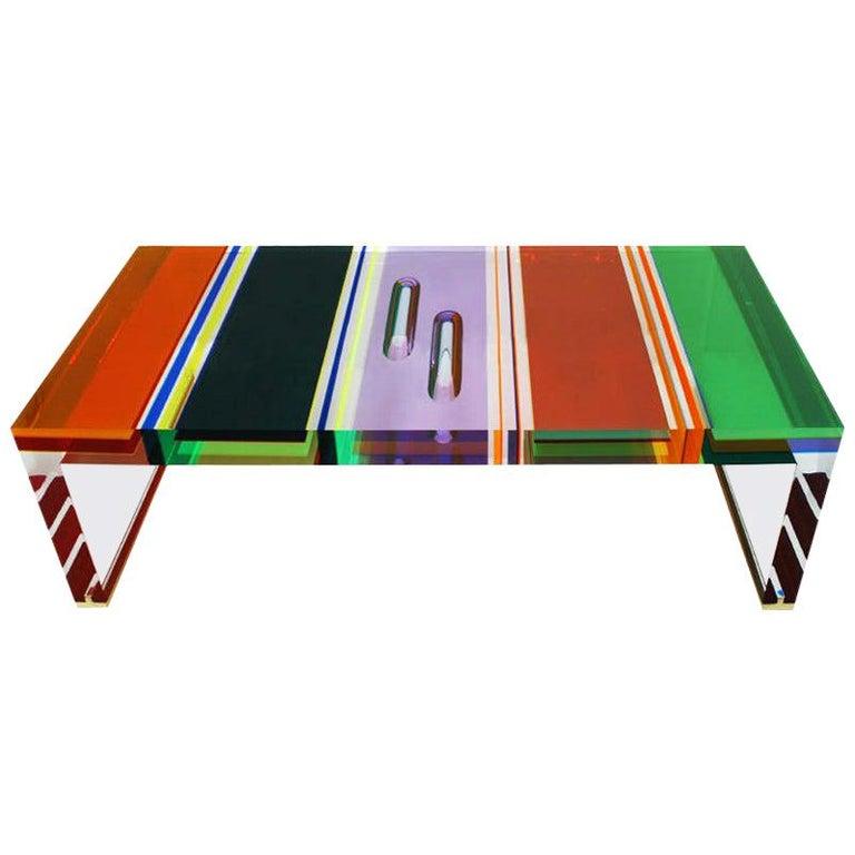 Studio Superego Modern Multicolor Plexiglass and Brass Feet Italian Coffee Table For Sale