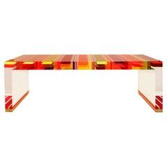 Studio Superego Modern Multicolor Plexiglass and Brass Feet Italian Coffee Table