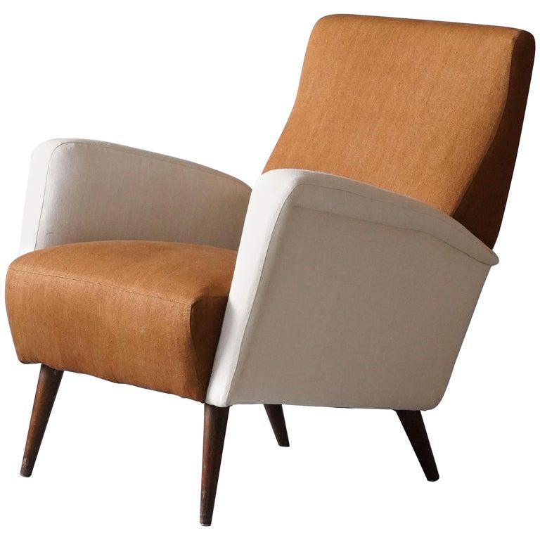 Studio Tecnico Cassina, Lounge Chair, Walnut, Fabric, Italy, 1950s For Sale
