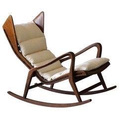 Studio Tecnico Cassina, Rocking Lounge Chair, Walnut, Fabric, Italy, 1950s