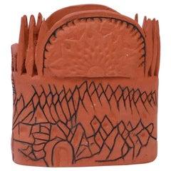 Studio Terracotta Aztec Style Vase Signed