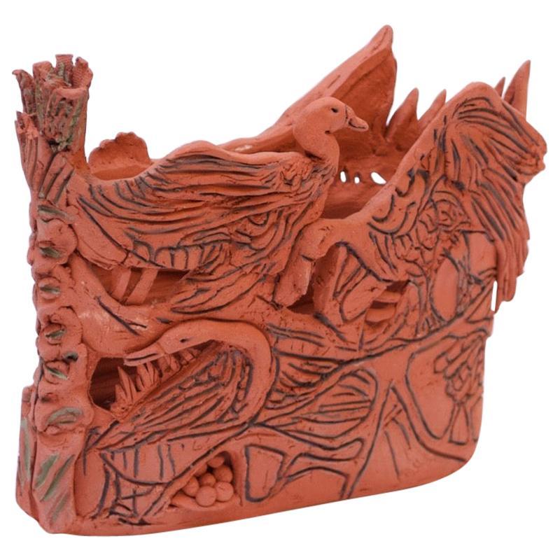 "Studio Terracotta ""Geese"" Vase Sculpture Signed"
