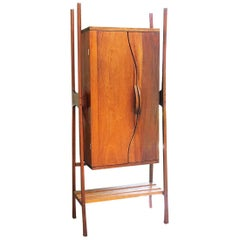 Studio Vintage 1970s Sculptural Mid Century Tall Wood Cabinet Made in Mexico