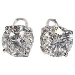 """Studs 2 Brilliant Cut Diamonds, Color """"F"""", Clarity SI3 and Weight 3.03 Carat"""