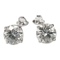 """Studs 2 Brilliant Cut Diamonds, Color """"G"""", Clarity SI2-3 and Weight 4.01 Carat"""