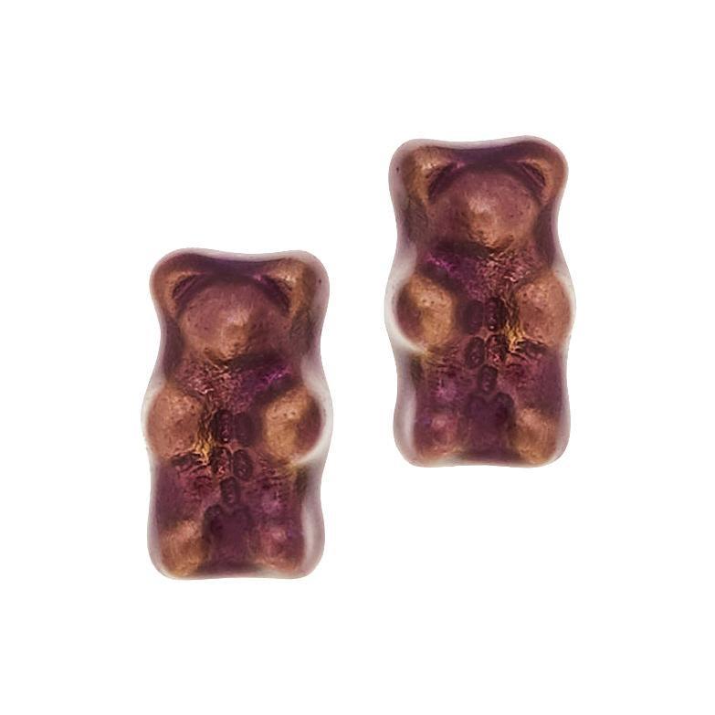 Earrings Studs Gummy Bears Purple Gift 18k  Gold-Plated Silver Greek Jewelry