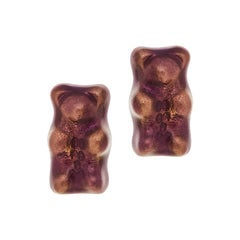 Studs Gummy Bears Purple Colorful Gift Silver Gold-Plated Greek Jewelry