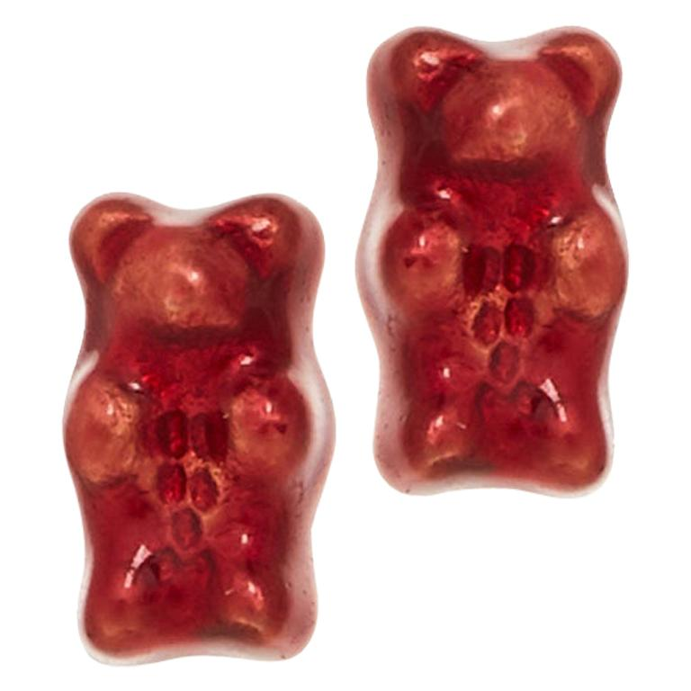Studs Gummy Bears Red Colorful Gift Silver 18 Karat Gold-Plated Greek Jewelry For Sale