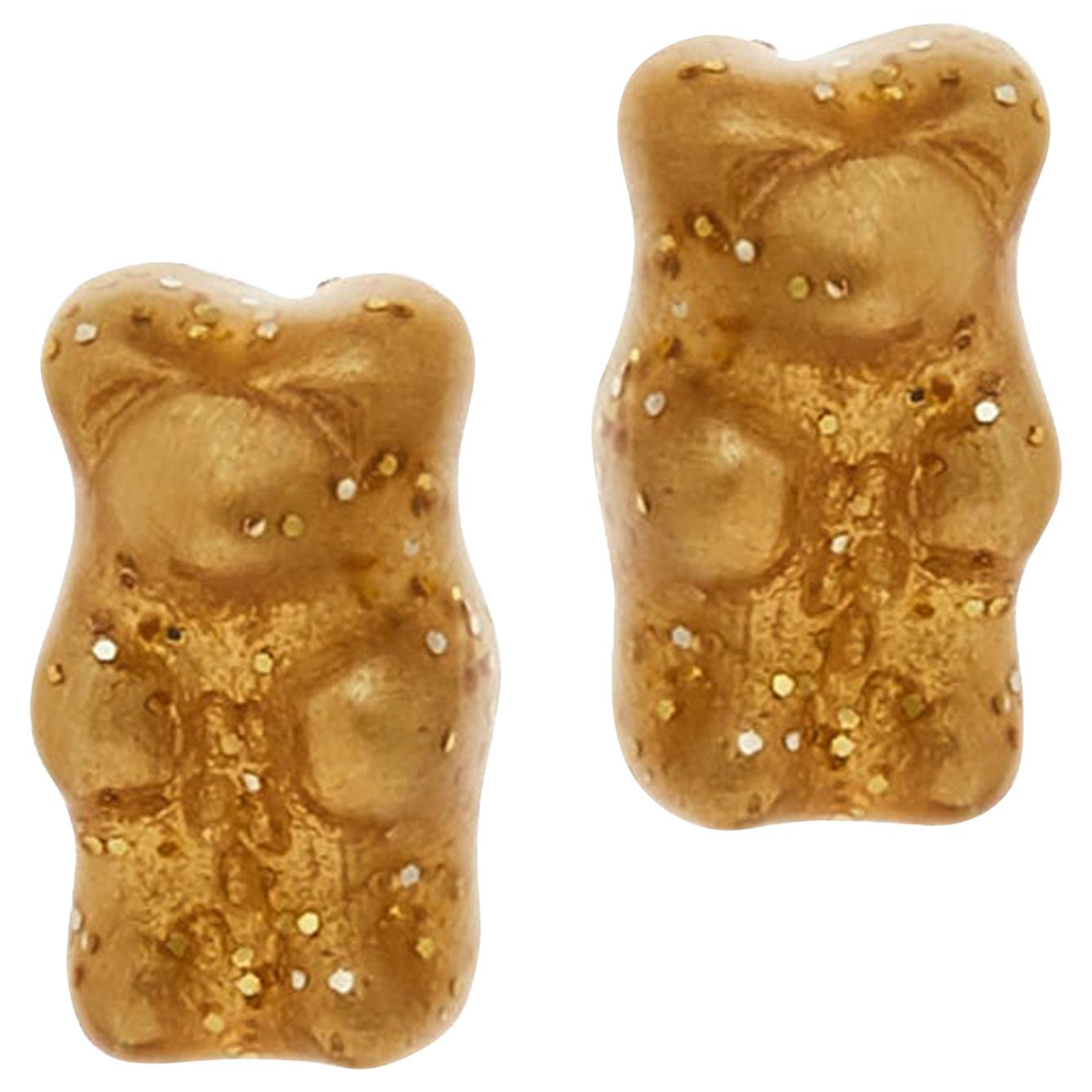 Studs Gummy Bears Yellow Colorful Gift Silver 18 Karat Gold-Plated Greek Jewelry