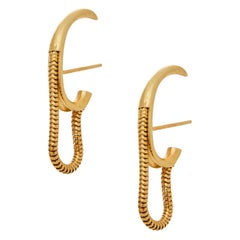 Studs Mini Small Round Shape Hoops Snake Chain Gold-Plated Silver Greek Earrings