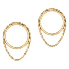 Studs Minimal Small Circle with Snake Chain Gold-Plated Silver Greek Earrings