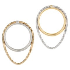 Studs Minimal Small Circle with Snake Chain Mixed Metal Greek Earrings