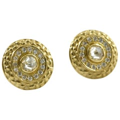 Studs with Rose Cut Diamonds, 18K, and Pave' Diamond Surround, Diana Kim England