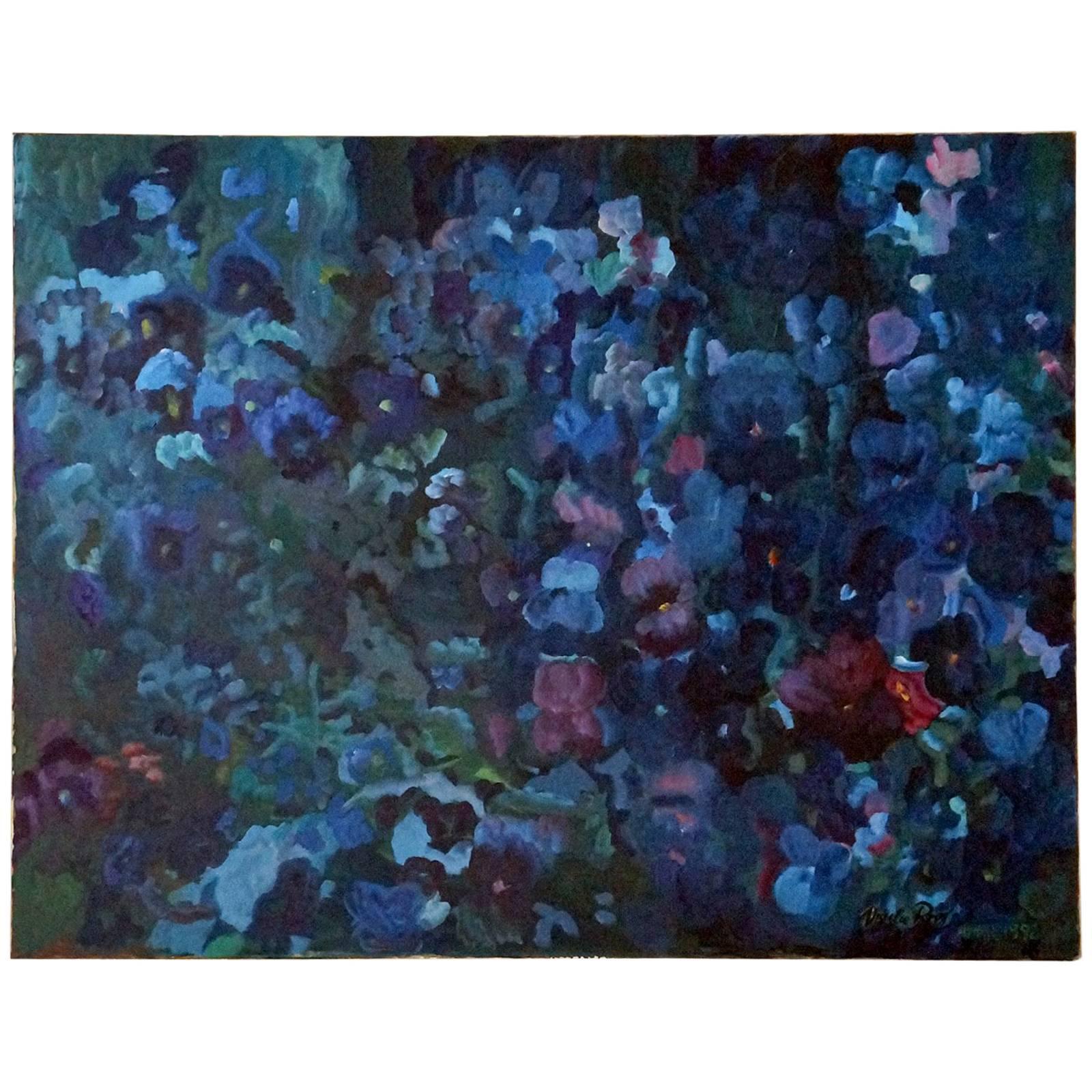 Study of Blue Pansies, Painting by U. Roos