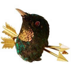 Stuffed Hummingbird Brooch, Anonymous, Early 20th Century, Victorian