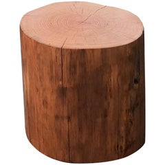 Rustic Wooden Stump Side Table