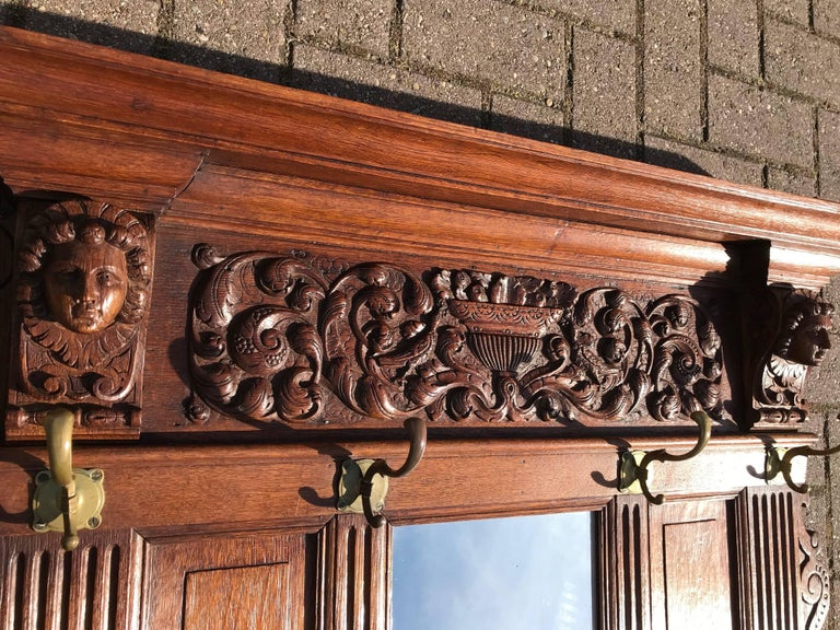 Antique Hand Carved Neoclassical Revival Oak Wall Coat