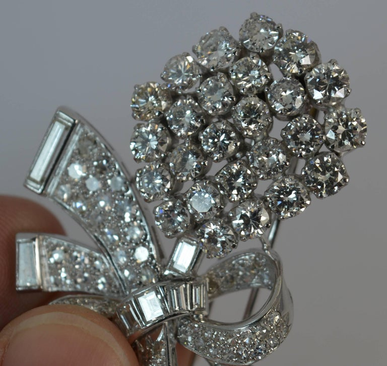 Victorian Stunning 10 Carat Diamond and 18 Carat White Gold Vintage Floral Spray Brooch For Sale