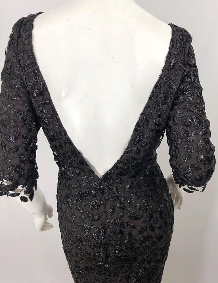 Stunning $10k Vintage Halston Black 3/4 Sleeves Silk Lace Crochet Sz 4 6 Dress For Sale 6