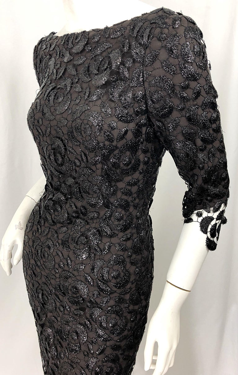 Stunning $10k Vintage Halston Black 3/4 Sleeves Silk Lace Crochet Sz 4 6 Dress For Sale 7