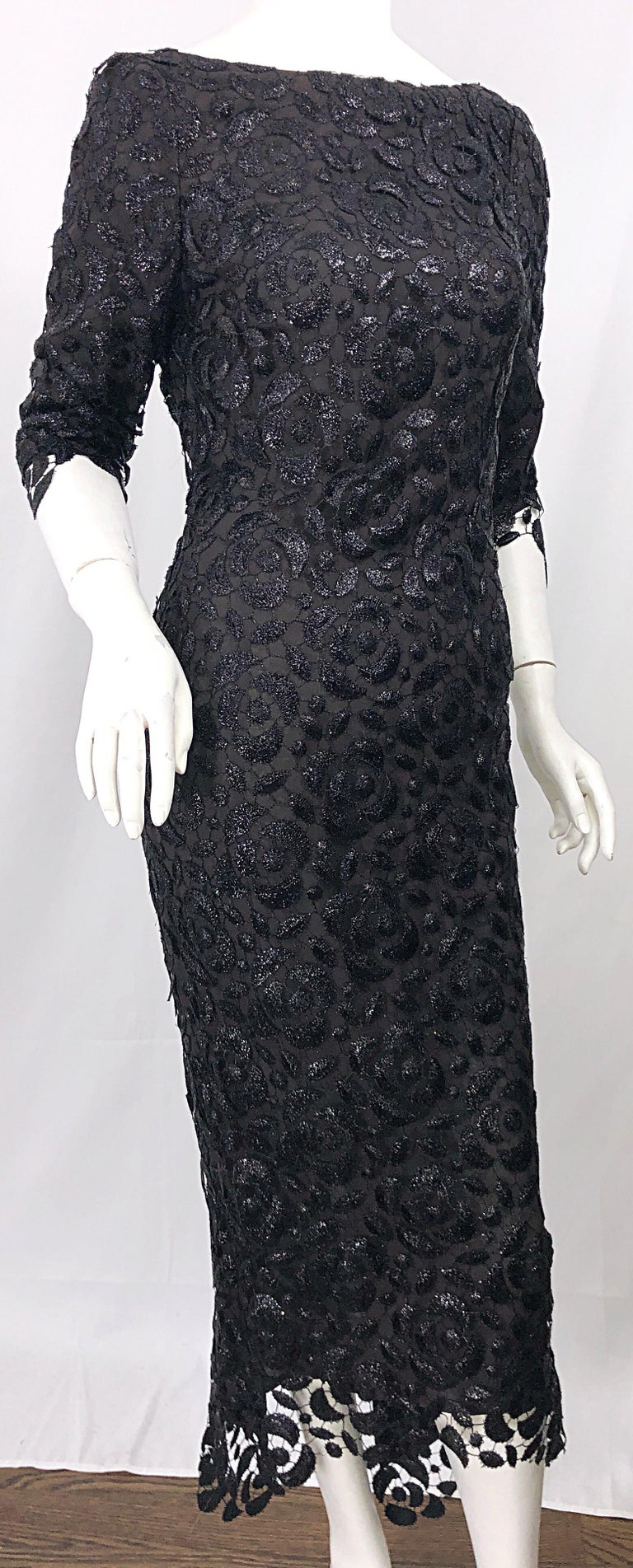 Stunning $10k Vintage Halston Black 3/4 Sleeves Silk Lace Crochet Sz 4 6 Dress For Sale 8