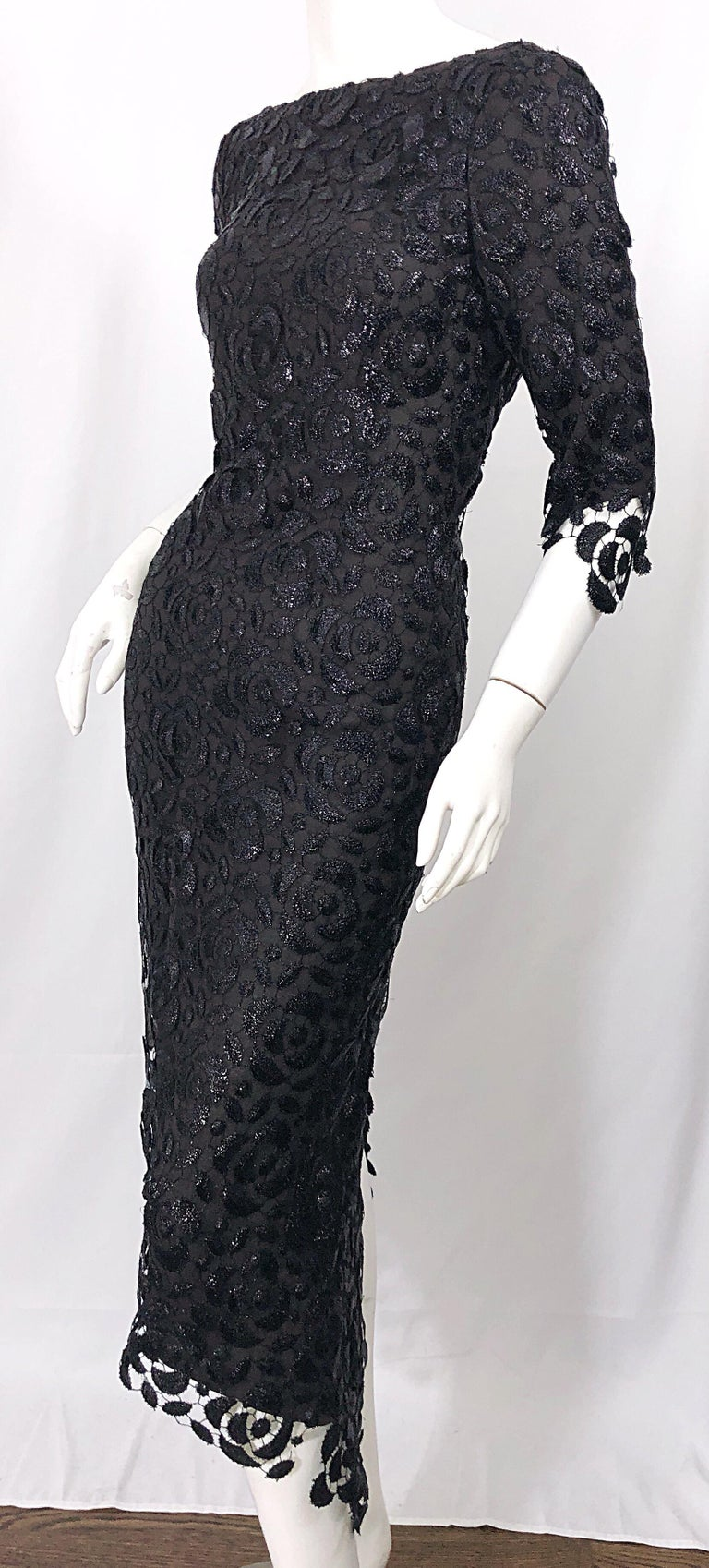 Stunning $10k Vintage Halston Black 3/4 Sleeves Silk Lace Crochet Sz 4 6 Dress For Sale 9