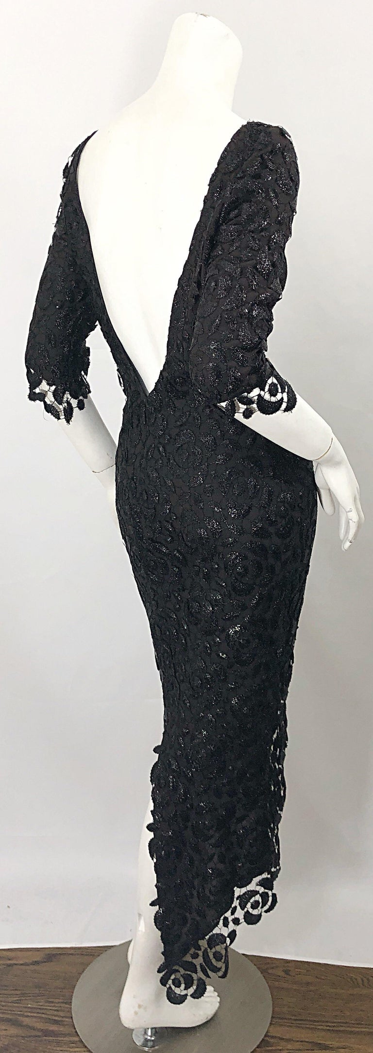 Stunning $10k Vintage Halston Black 3/4 Sleeves Silk Lace Crochet Sz 4 6 Dress For Sale 10
