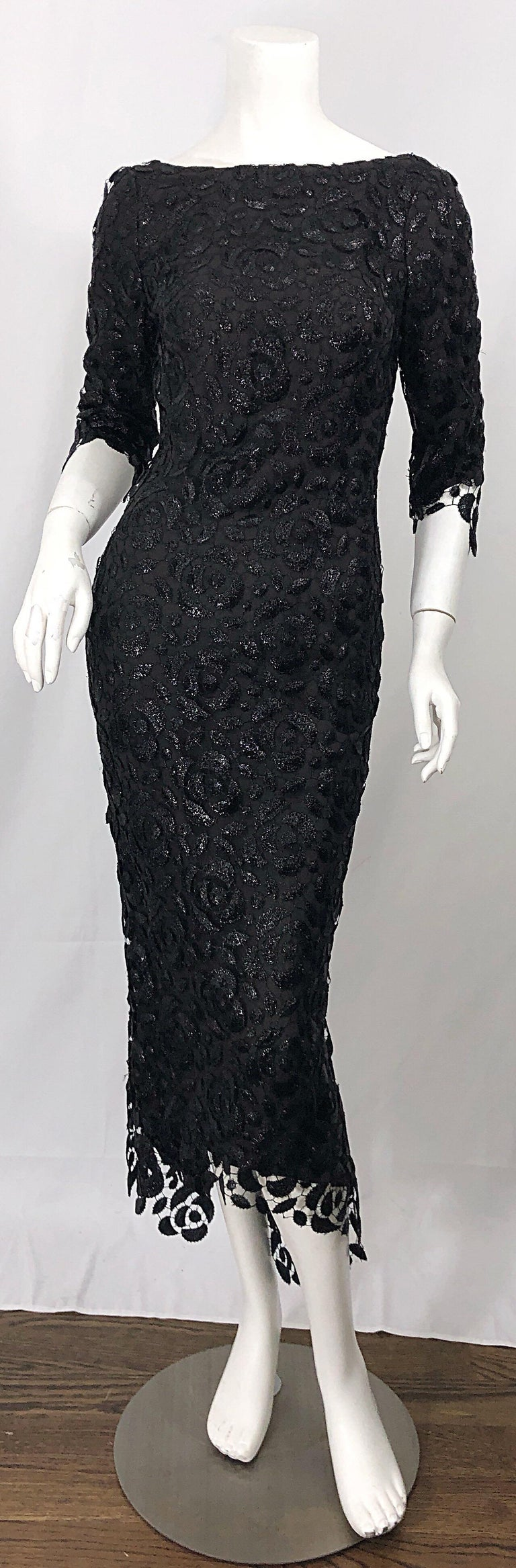 Stunning $10k Vintage Halston Black 3/4 Sleeves Silk Lace Crochet Sz 4 6 Dress For Sale 11