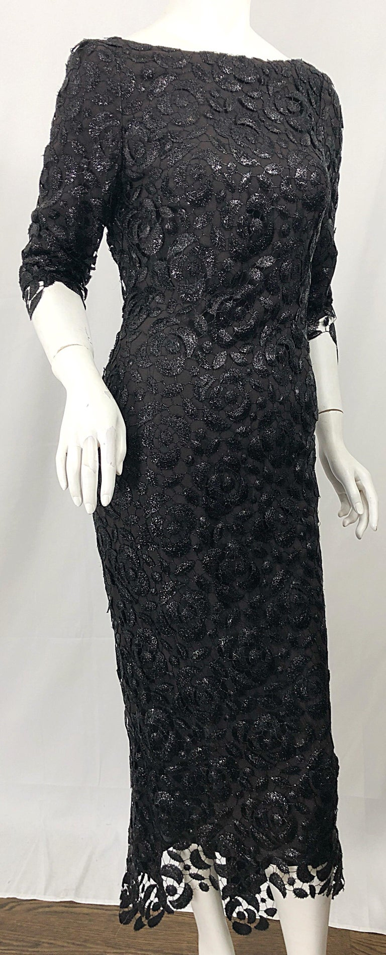 Stunning $10k Vintage Halston Black 3/4 Sleeves Silk Lace Crochet Sz 4 6 Dress For Sale 12