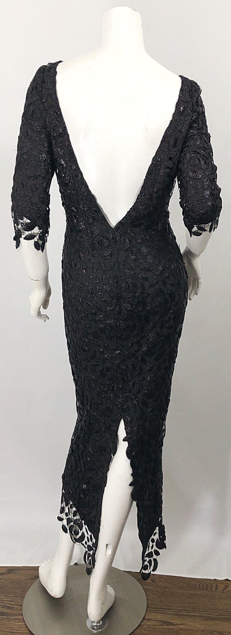 Stunning $10k Vintage Halston Black 3/4 Sleeves Silk Lace Crochet Sz 4 6 Dress For Sale 13