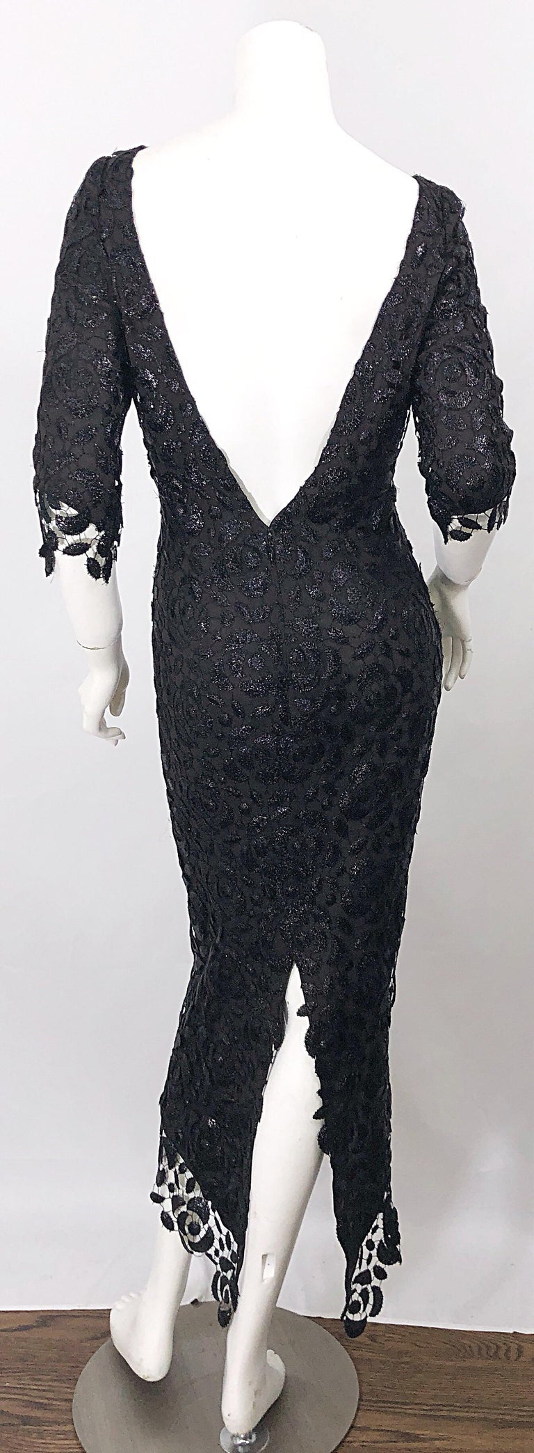 Stunning $10k Vintage Halston Black 3/4 Sleeves Silk Lace Crochet Sz 4 6 Dress In New Condition For Sale In Chicago, IL