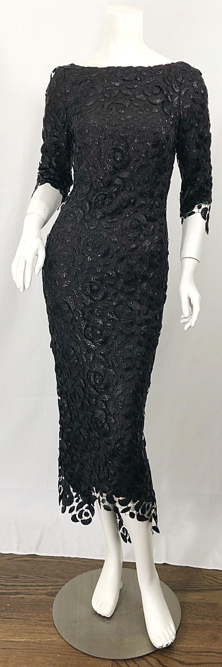 Women's Stunning $10k Vintage Halston Black 3/4 Sleeves Silk Lace Crochet Sz 4 6 Dress For Sale