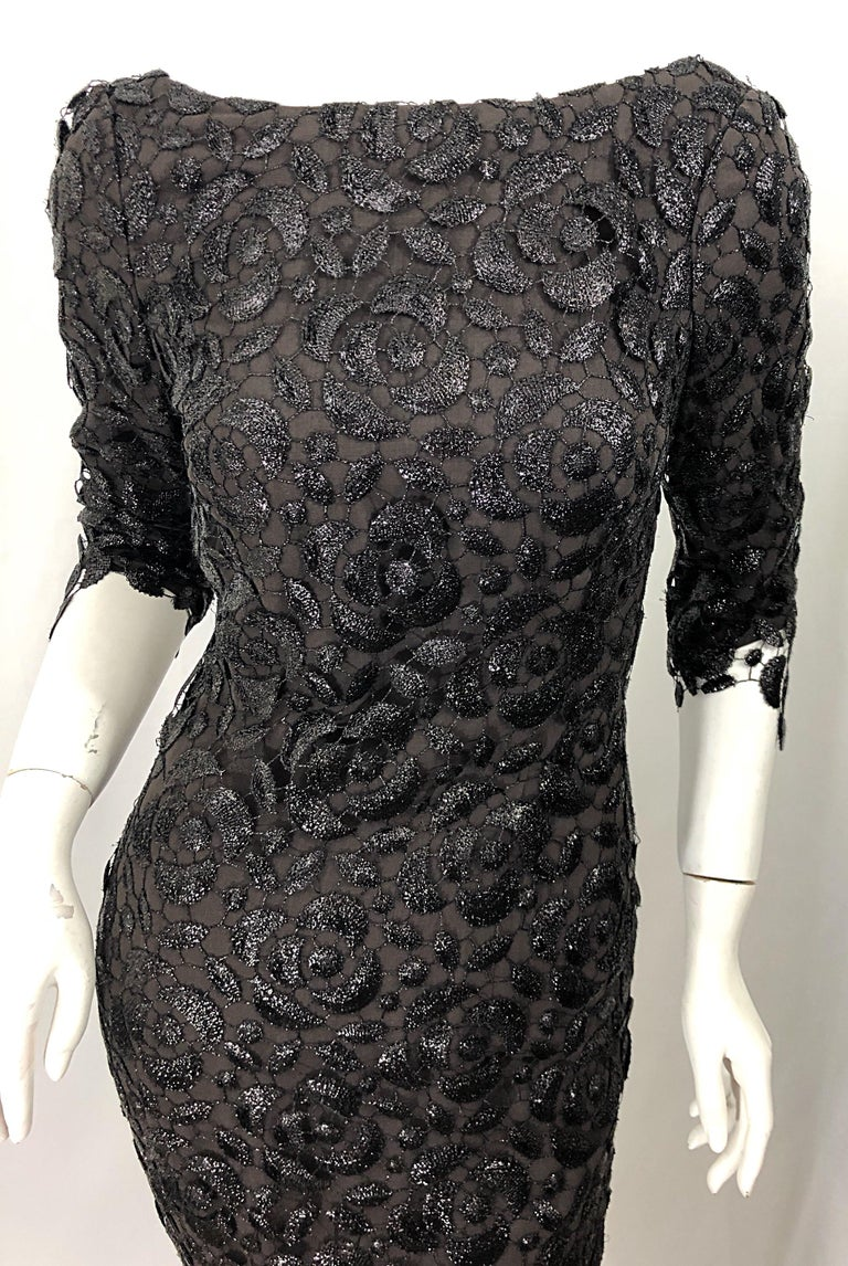 Stunning $10k Vintage Halston Black 3/4 Sleeves Silk Lace Crochet Sz 4 6 Dress For Sale 1