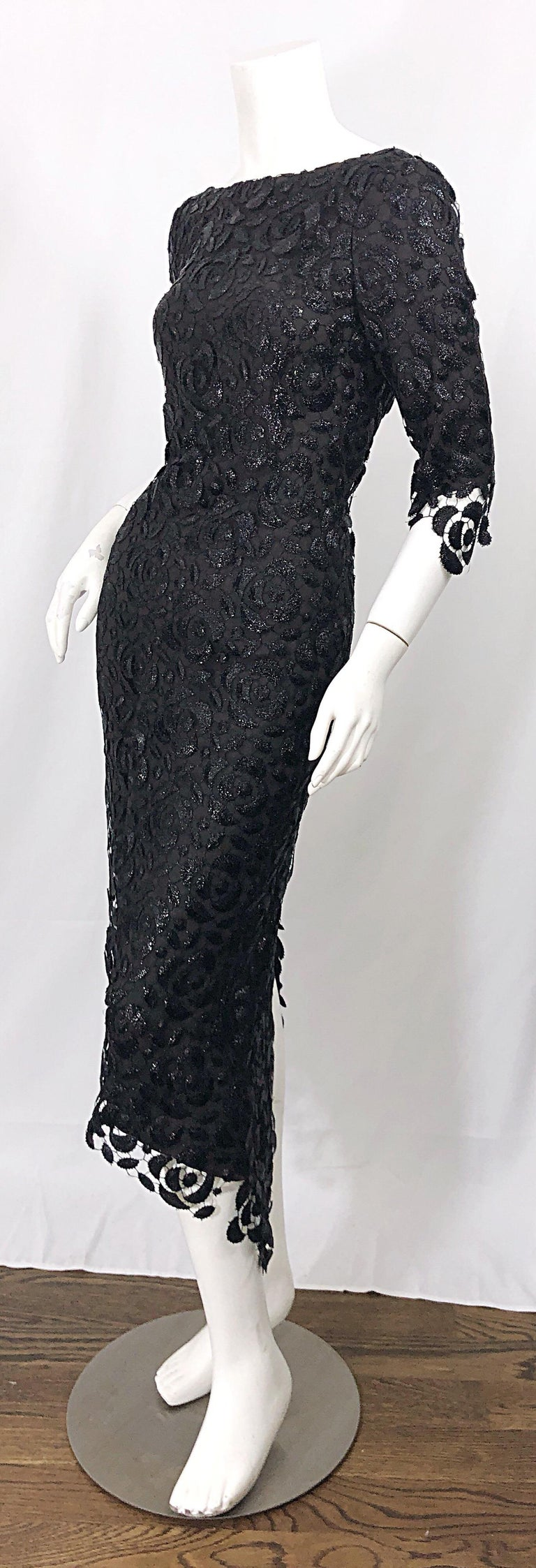 Stunning $10k Vintage Halston Black 3/4 Sleeves Silk Lace Crochet Sz 4 6 Dress For Sale 2