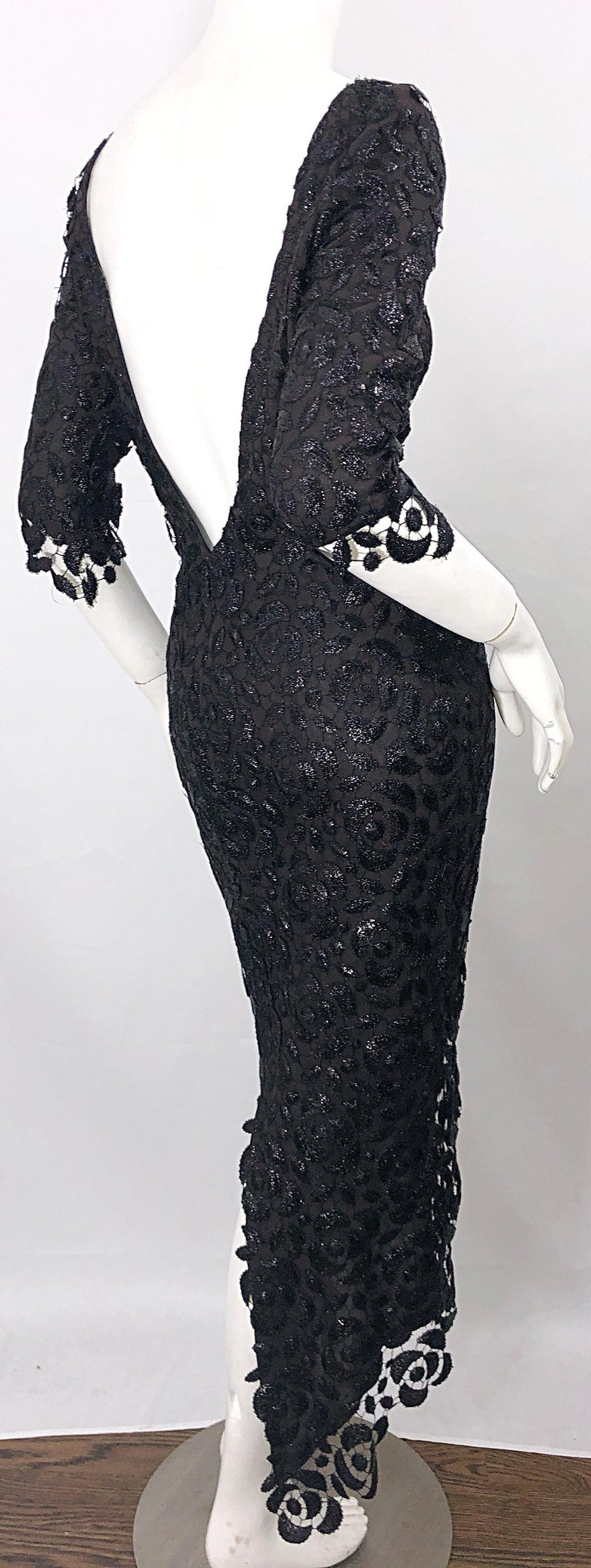 Stunning $10k Vintage Halston Black 3/4 Sleeves Silk Lace Crochet Sz 4 6 Dress For Sale 4