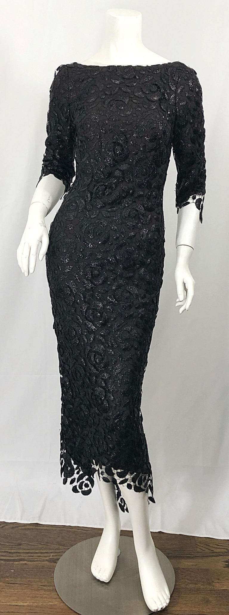 Stunning $10k Vintage Halston Black 3/4 Sleeves Silk Lace Crochet Sz 4 6 Dress For Sale 5