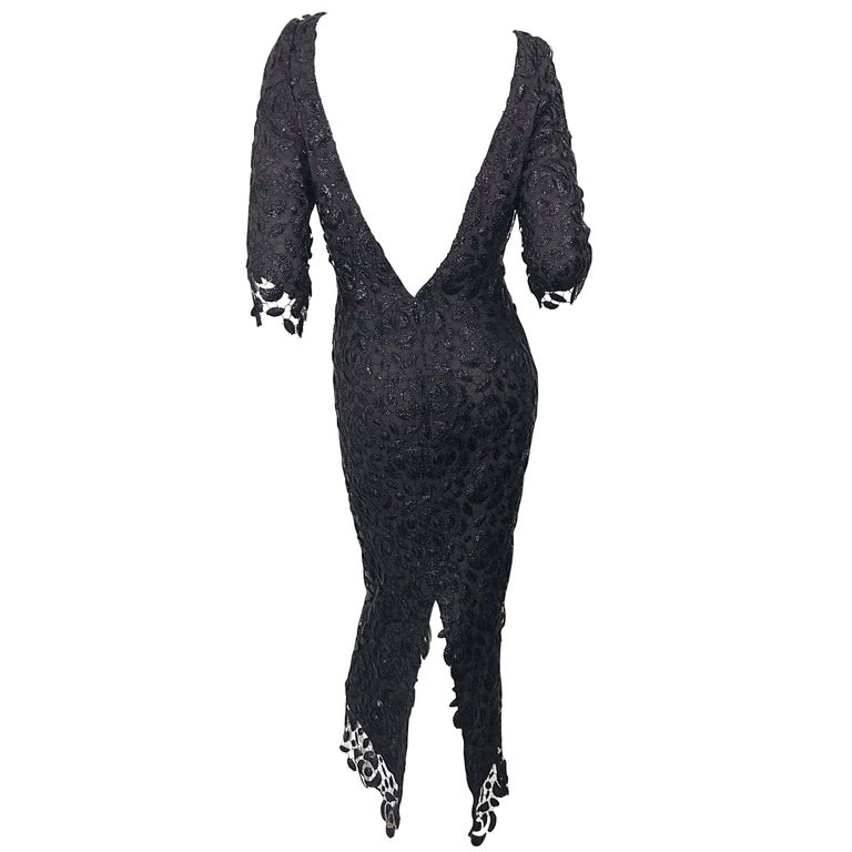 Stunning $10k Vintage Halston Black 3/4 Sleeves Silk Lace Crochet Sz 4 6 Dress For Sale