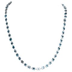 Stunning 14 Karat White Gold Blue Topaz by the Yard Necklace