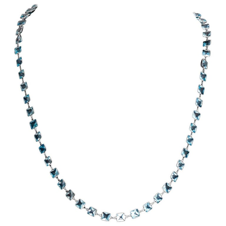 Stunning 14 Karat White Gold Blue Topaz by the Yard Necklace For Sale