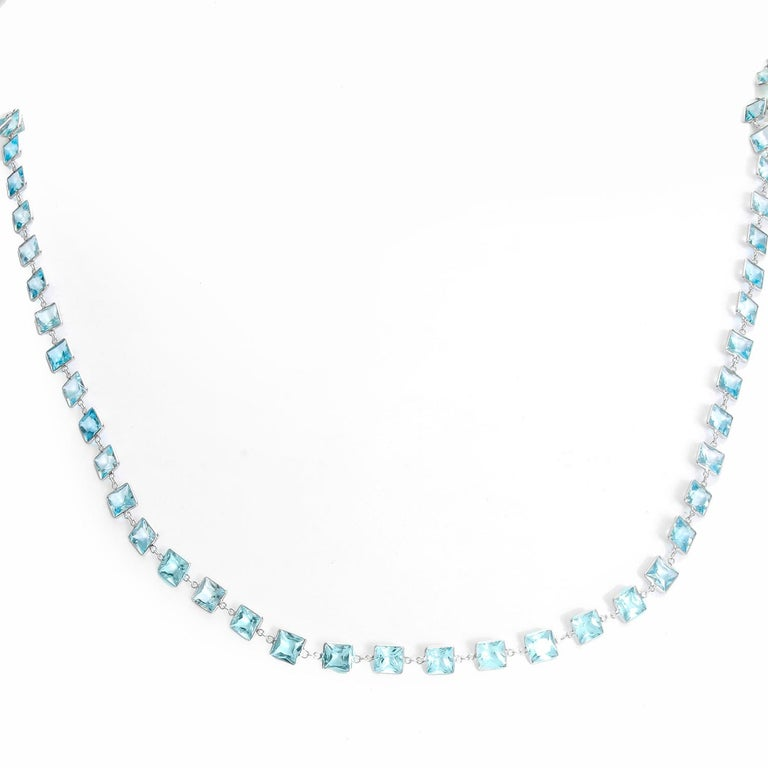 Women's Stunning 14 Karat White Gold Blue Topaz by the Yard Necklace For Sale