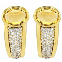 Stunning 18 Karat Gold 1980s Citrine Diamond Pave Half Hoop Earrings