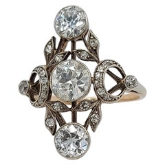 Stunning 18 Karat Gold and Silver Ring with Diamonds from the 1900s, Trilogy