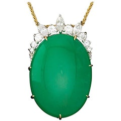 Stunning 18 Karat Gold Platinum 1.50 VS Diamond Chrysoprase Necklace Pendant