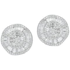 Stunning 18 Karat Gold Unique Button-Design Earrings with over 260 Diamonds